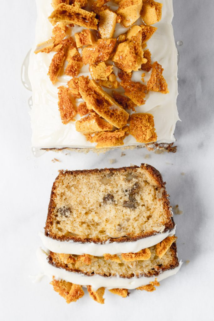 Honeycomb walnut loaf cake