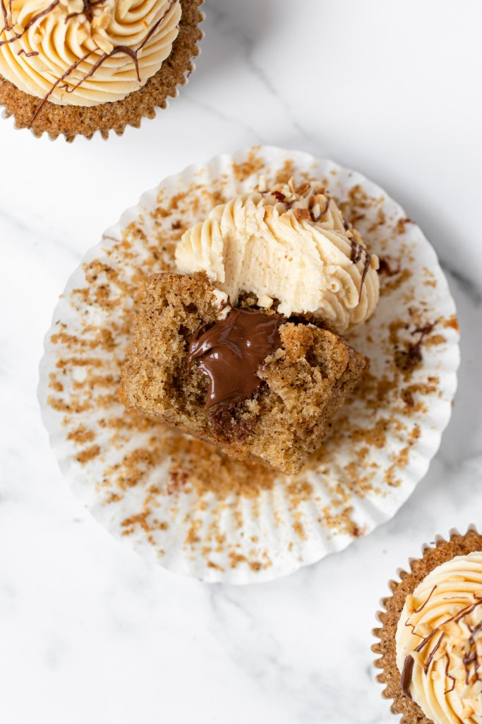 Nutella Mocha Cupcakes with nutella filling